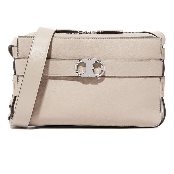 TORY BURCH gemini leather camera bag - A buckle strap with logo hardware circles this...