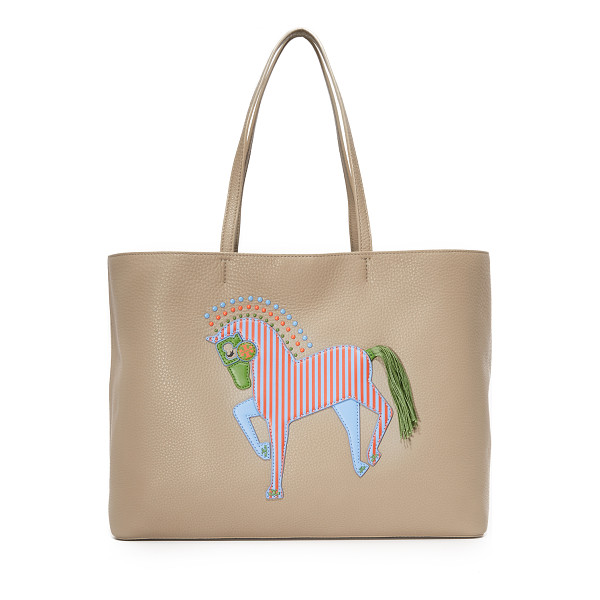 TORY BURCH Horse tote - A colorful leather horse appliqué details the front of this...