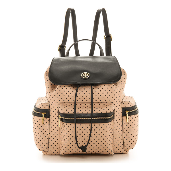 TORY BURCH Kerrington flap backpack - A sizable Tory Burch backpack in swiss dot coated canvas,