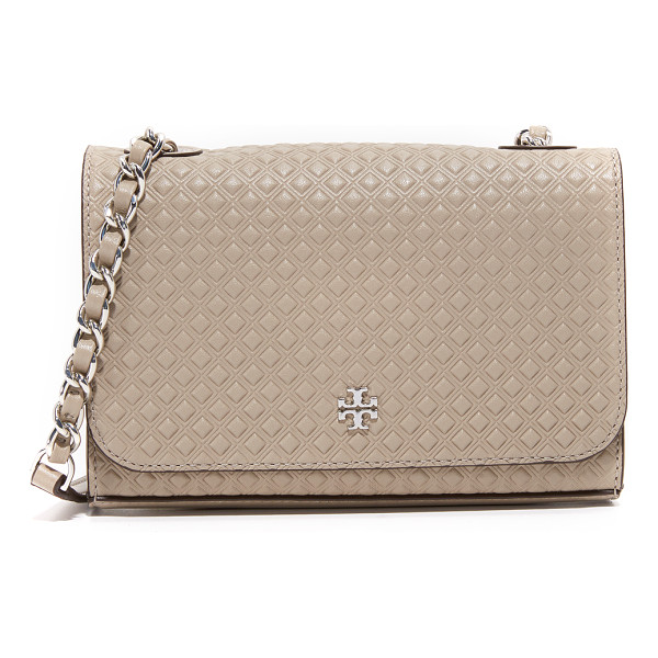 TORY BURCH marion embossed shrunken shoulder bag - An embossed diamond pattern lends rich texture to this Tory