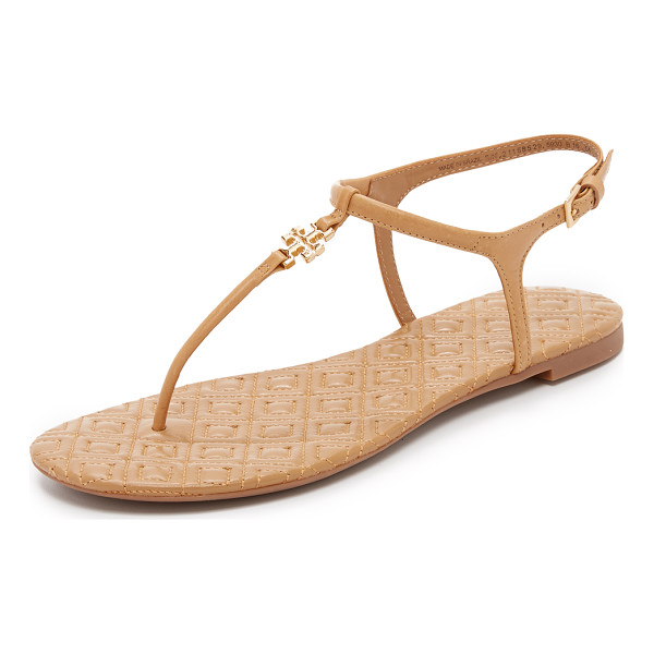 TORY BURCH marion quilted sandals - A polished logo accents these T strap Tory Burch sandals....