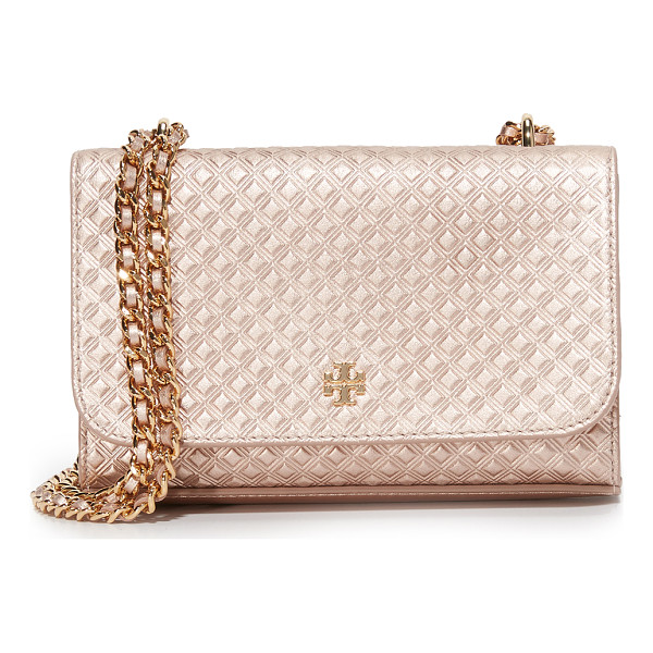 TORY BURCH Tory Burch Marion Shrunken Shoulder Bag - Embossed metallic leather composes this petite Tory Burch