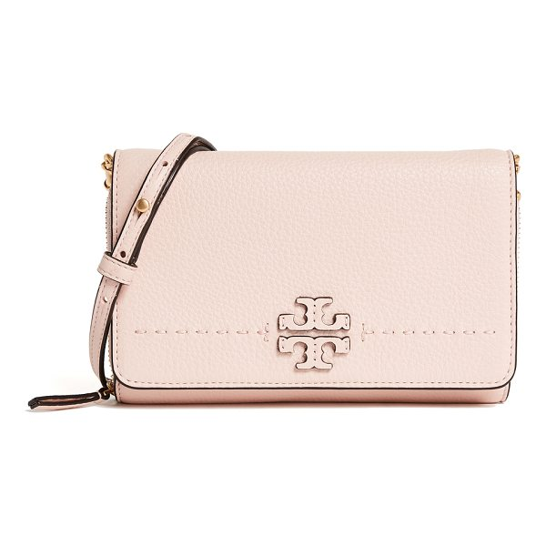 TORY BURCH mcgraw flat wallet cross body bag - This slim, pebbled leather Tory Burch cross-body bag...