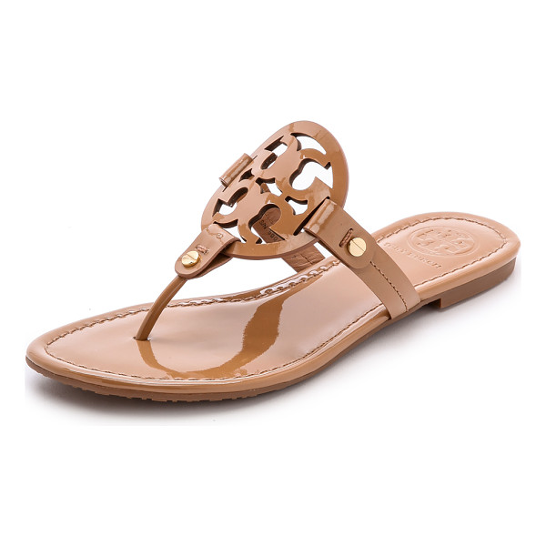 TORY BURCH miller thong sandals - A laser-cut logo adds a signature touch to these patent...