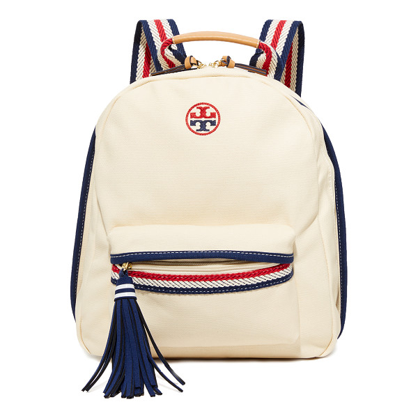 TORY BURCH preppy canvas backpack - A slouchy Tory Burch backpack in lightly-coated canvas,