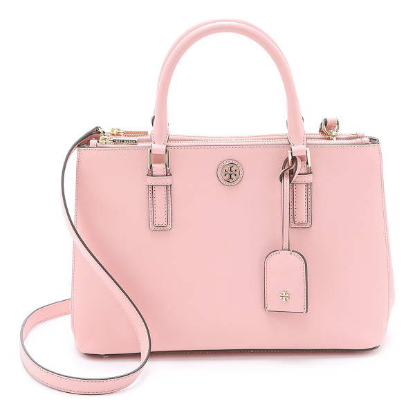 TORY BURCH Robinson mini double zip satchel - This mid sized Tory Burch tote is composed of sophisticated