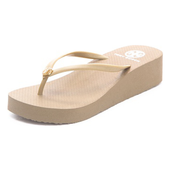 TORY BURCH wedge thin flip flop - These wedge Tory Burch flip-flops feature a logo medallion...