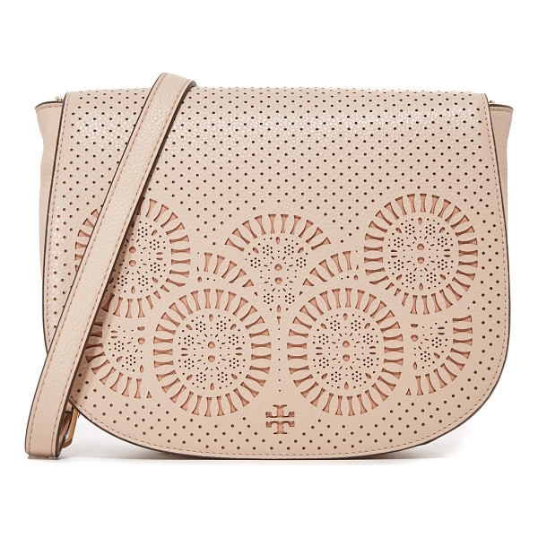 TORY BURCH Zoey saddle bag - A large Tory Burch saddle bag with elaborate laser cut