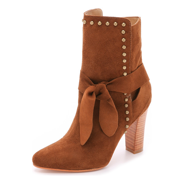 ULLA JOHNSON Aggie suede booties - Antiqued studs surround the split shaft of these suede Ulla