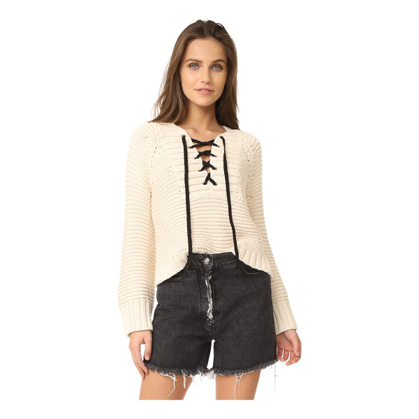 ULLA JOHNSON marland sweater - Contrast ribbons lace at the neckline on this chunky-knit...