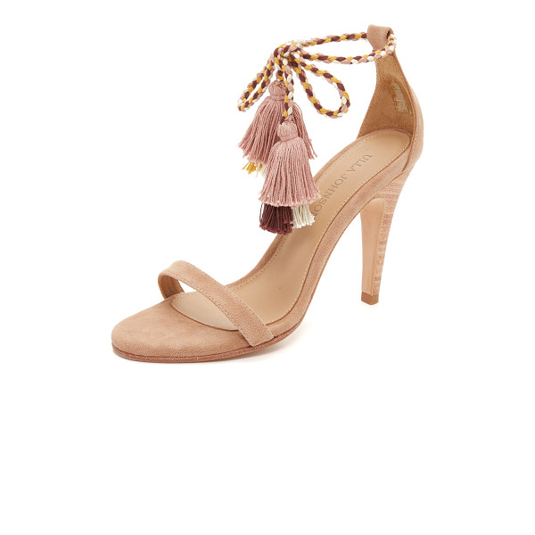 ULLA JOHNSON Reina sandals - Colorblock tassels finish the braided ties on these suede
