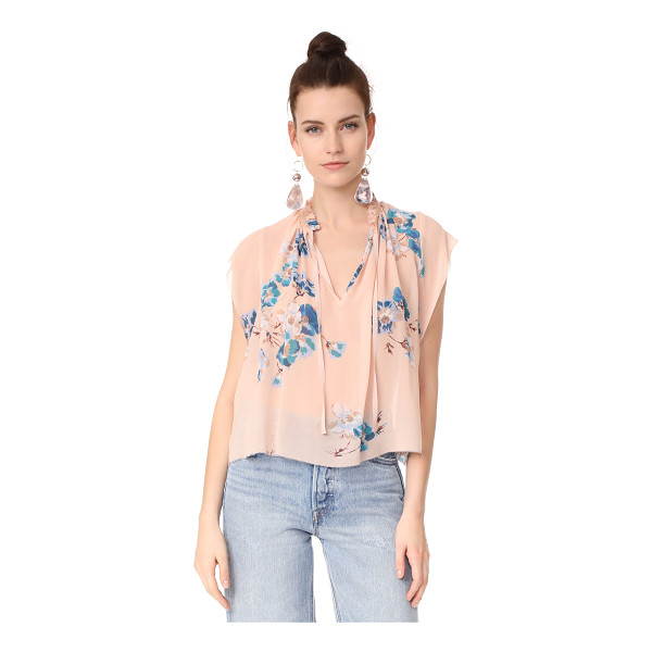 ULLA JOHNSON saadi blouse - A dusty floral print accents this silk crepe Ulla Johnson...