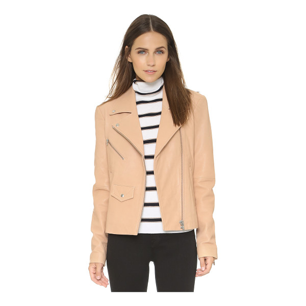 VEDA Lazer classic leather moto jacket - A VEDA moto jacket in washed leather. Notched collar and...