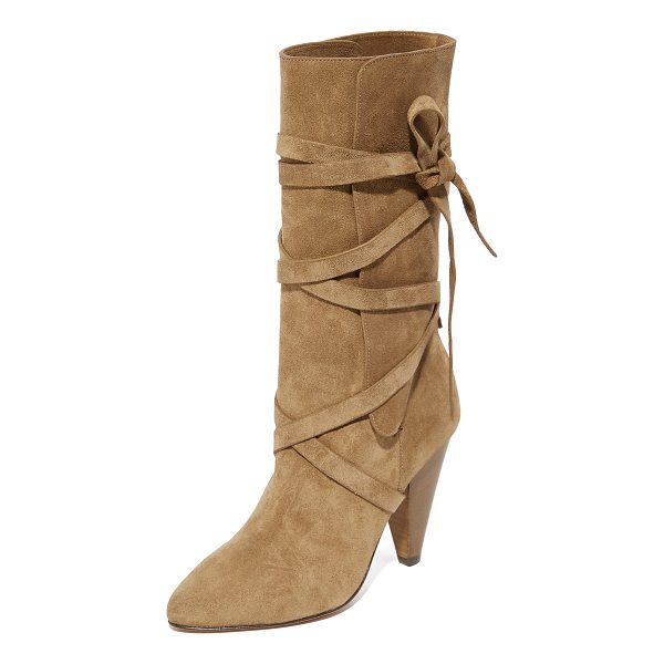 VERONICA BEARD hall heel boots - Wraparound straps secure the split shaft on these suede...