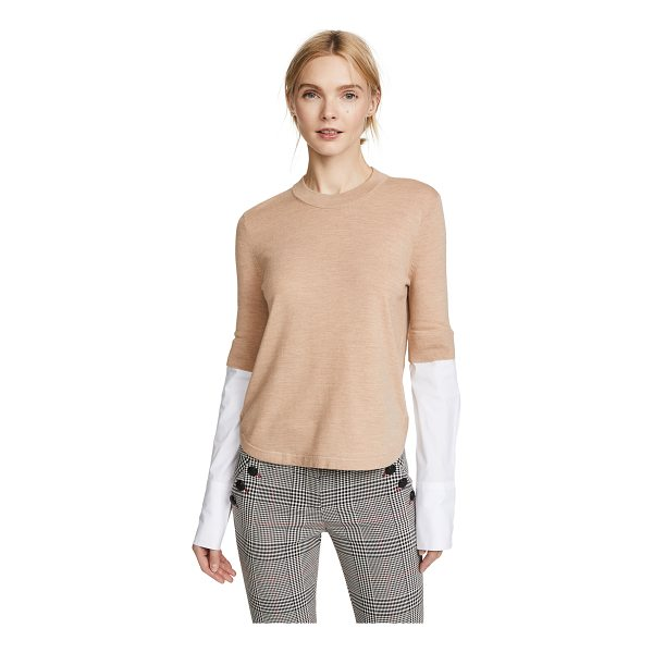 VERONICA BEARD roscoe mixed media sweater - Exclusive to Shopbop Fabric: Fine knit Pullover style...