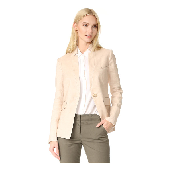 VERONICA BEARD upcollar jacket - Luxe linen-blend suiting composes this classic 3-pocket...