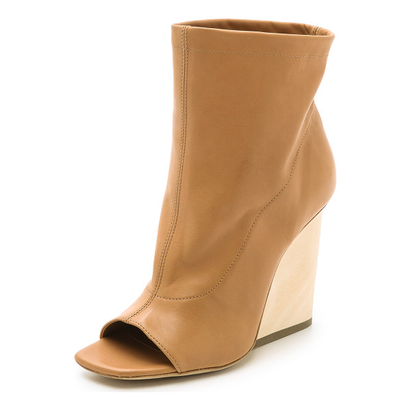VIC MATIE Wedge open toe booties - Soft leather and a slouchy, wide cut shaft bring a