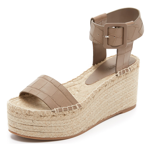 VINCE Abby espadrille wedges - Croc embossed leather lends sophistication to these casual...