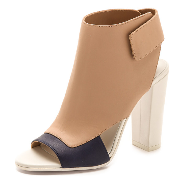 VINCE Agatha open toe booties - Striking colorblocked leather lends a fresh look to open