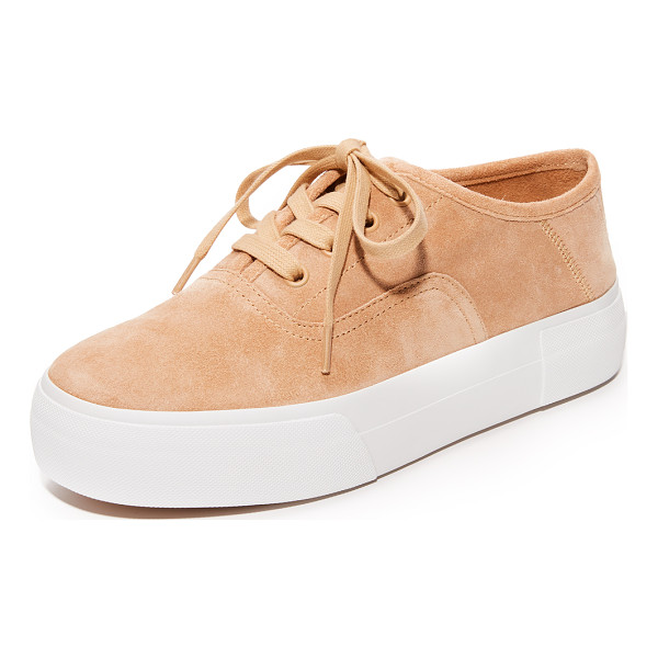 VINCE copley platform sneakers - A thick platform adds a solid lift to these suede Vince...