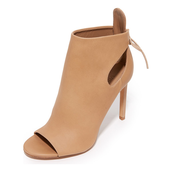 VINCE Gabrielle open toe booties - Slim ties lace up the ankle cuff on these elegant, open toe...