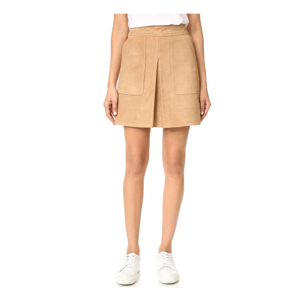 VINCE inverted pleat suede miniskirt - A kick pleat relaxes the fit of this retro-inspired Vince...