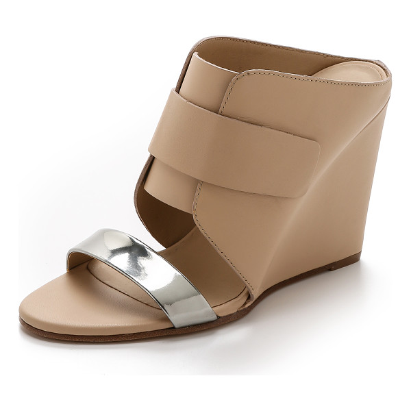 VINCE Karima 2 wedge mules - A mirrored band brings a cool flash to these leather Vince...