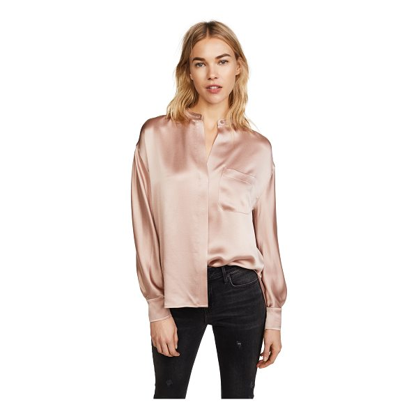 VINCE single pocket blouse - Fabric: Silk charmeuse Collarless design Waist-length style...