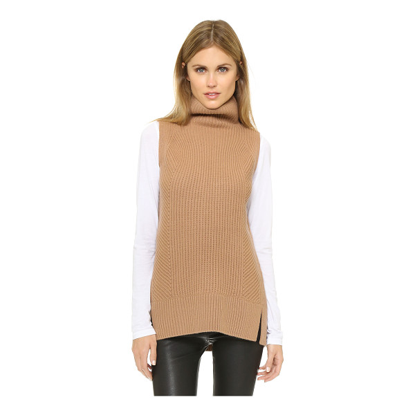 VINCE Sleeveless turtleneck sweater - Multi directional ribs bring a subtle design element to...