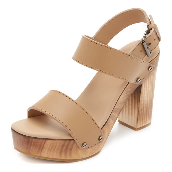 VINCE Solange sandals - Screw head studs trim the wooden platform on these refined,...