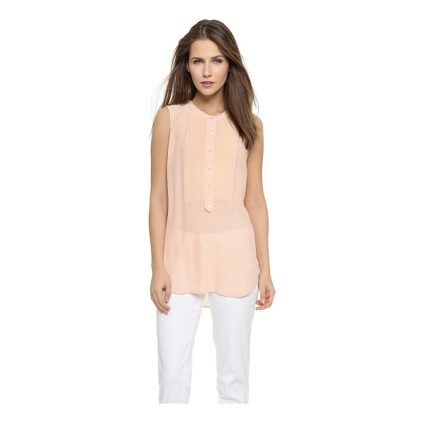 VINCE Tuxedo blouse - This crepe Vince blouse has a tuxedo inspired look, with a...