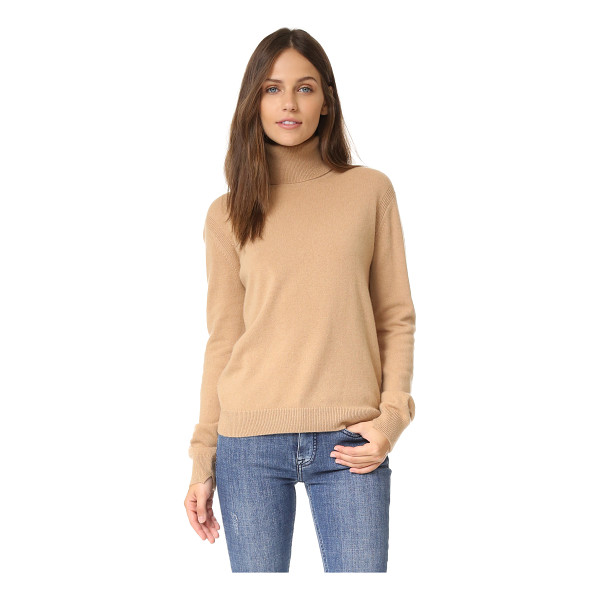 VINCE cashmere turtleneck sweater - Ribbed trim cuts along the side seams on this slouchy Vince...