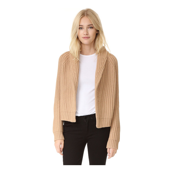 VINCE crop cardigan sweater - A shawl collar frames the open placket on this cropped,