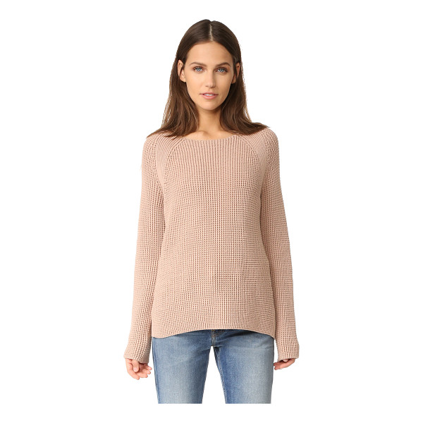 VINCE waffle stitch crew pullover - Ribbed sections detail this cozy, waffle-knit Vince...