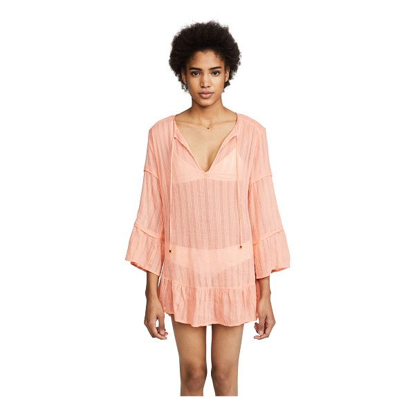 VIX SWIMWEAR bellini ruffle tunic - Fabric: Shadow-striped voile Gold-tone beads at ties Swim...