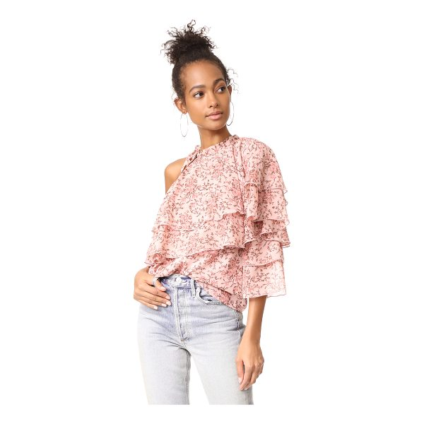 WAYF colton tiered one shoulder top - This tiered, floral WAYF one-shoulder blouse has a tie...