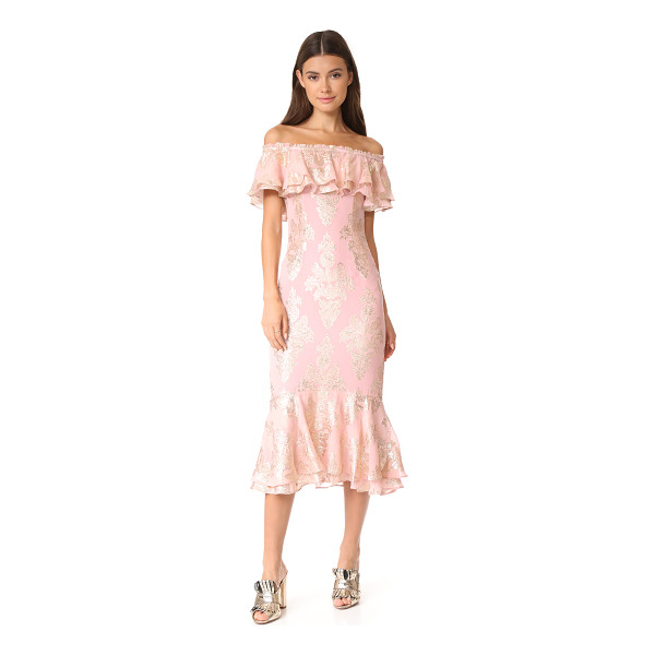 WE ARE KINDRED blushing lotus off shoulder dress - Shimmering lamé designs lend an opulent touch to this airy...