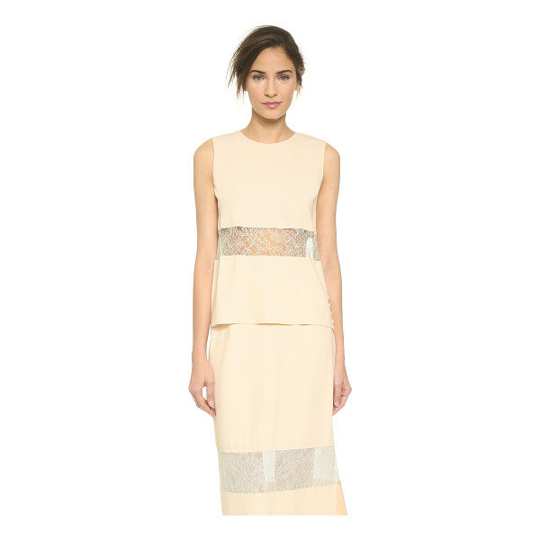 WES GORDON banded lace shell - A simple Wes Gordon shell feels feminine with delicate lace...