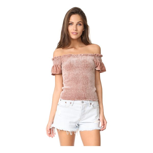 WHISTLES phi phi smocked velvet top - NOTE: Sizes listed are UK. Allover smocking lends a...