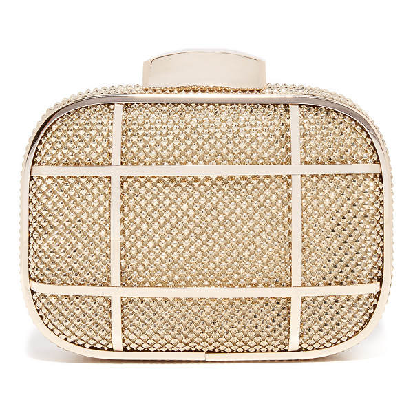 WHITING & DAVIS cage minaudiere clutch - Studded metal mesh lends a hit of rock-n-roll attitude to a