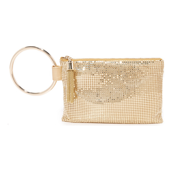 WHITING & DAVIS ring tassle pouch - A polished Whiting & Davis pouch in metal mesh. A large