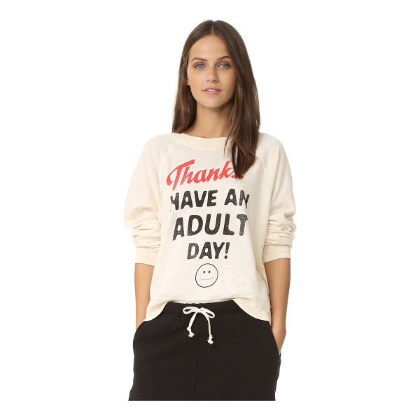 WILDFOX Adult day sweater - A lighthearted Wildfox sweatshirt, detailed with 'Thanks!...