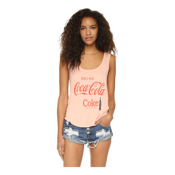 WILDFOX Drink coca cola road trip tank - A slouchy Wildfox tank in ribbed jersey detailed with bold...