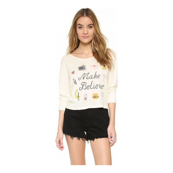 WILDFOX Make believe long sleeve tee - Pixelated graphics and cross stitch style 'Make Believe'...