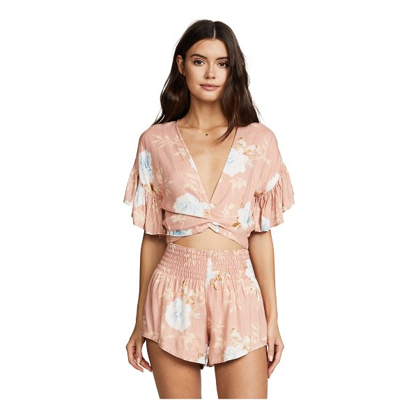 WINSTON WHITE aurora romper - Fabric: Soft weave Front cutout Floral print Shorts cut V...