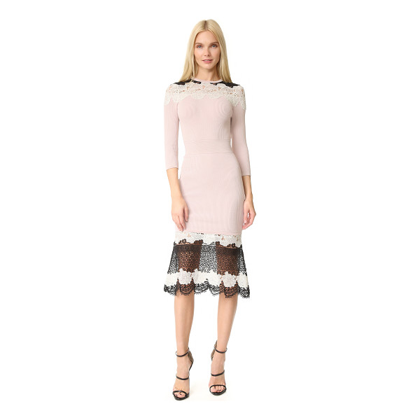YIGAL AZROUEL lace dress - This ribbed-knit Yigal Azrouel sheath dress is trimmed with...