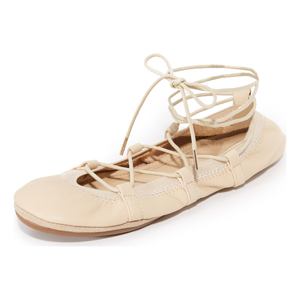 YOSI SAMRA seleste lace up flats - Lace up ties accent the top of these foldable leather Yosi...