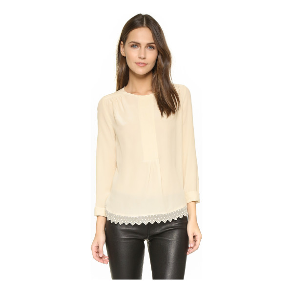 ZADIG & VOLTAIRE Tranoi blouse - Embroidered mesh trims the curved hem of this silk Zadig &...