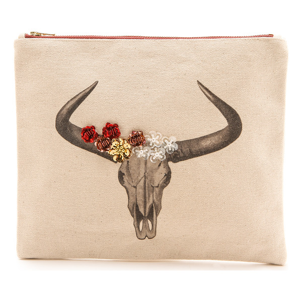 ZHUU Skull pouch - A cattle skull graphic and shiny sequins arranged in a