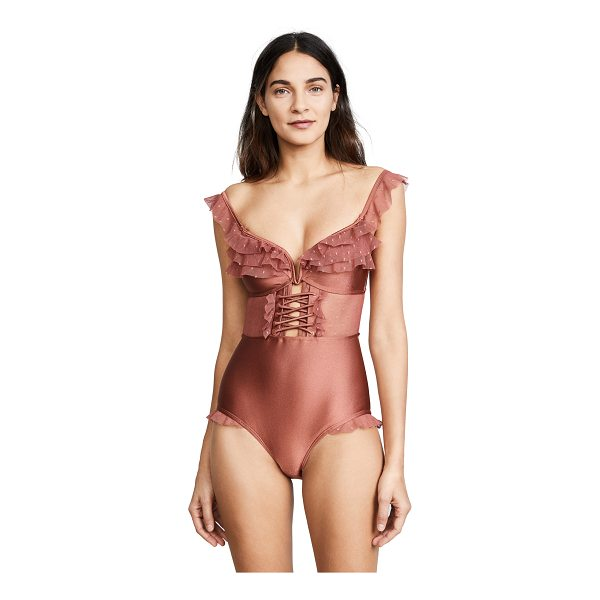 ZIMMERMANN corsair corset frill one piece bodysuit - This sexy Zimmermann bodysuit in embroidered mesh and...